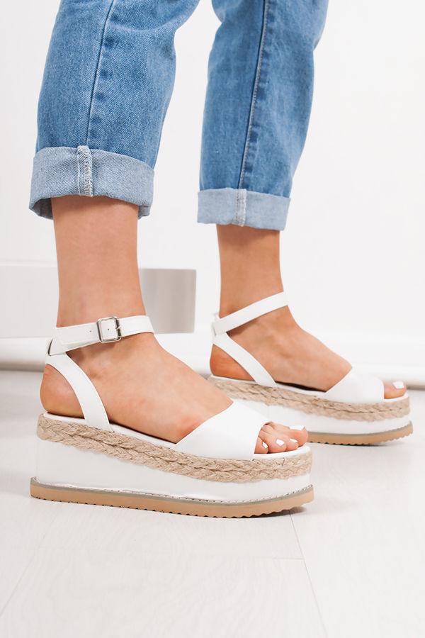 KENDALL White Flatform Espadrille Sandals