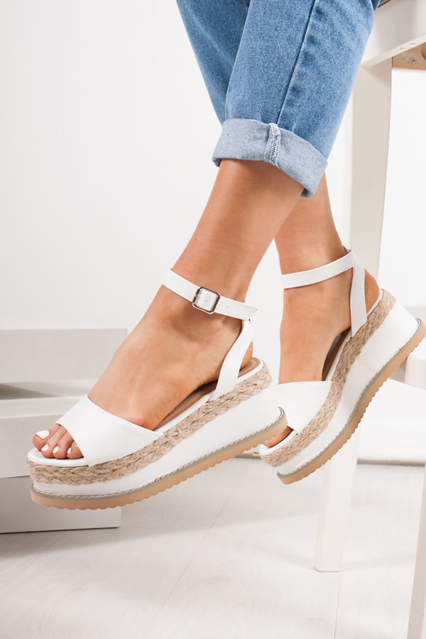 2314bfd5694 KENDALL White Flatform Espadrille Sandals