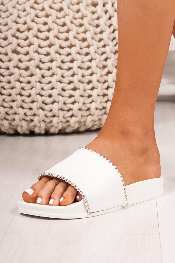 MADDIE White Strap Stud Detail Sliders