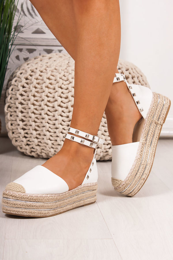 a3e8f960574 REYA White Faux Leather Stud Espadrille Flatforms