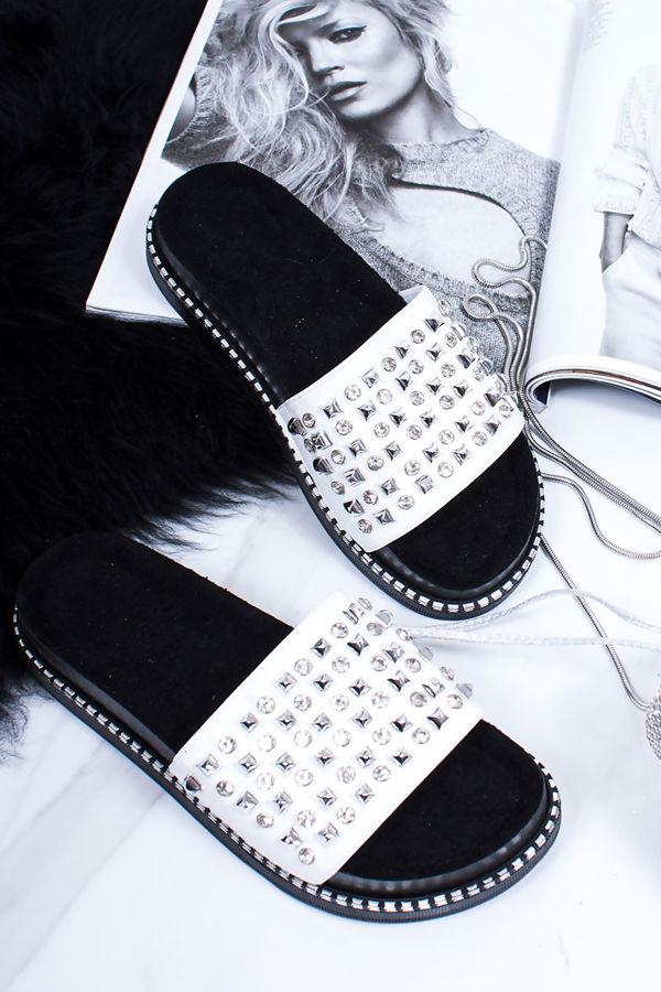 FINLEY White Stud Diamante Chunky Sliders