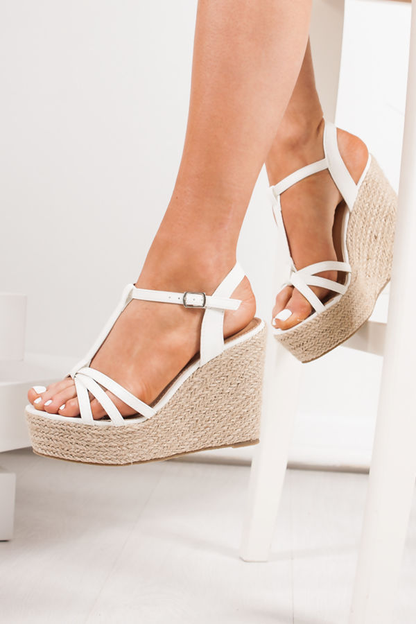 REMI White T-Bar Strap Espadrille Wedges