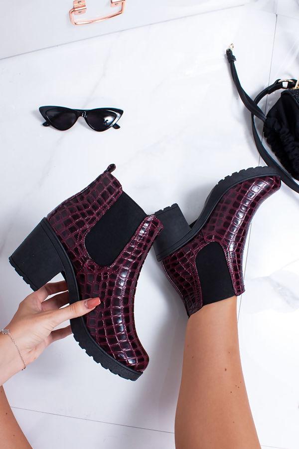 MADISON Burgundy Croc Print Patent Ankle Boots