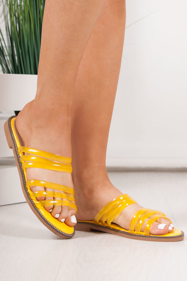 CLOVER Yellow Clear Strap Sandals