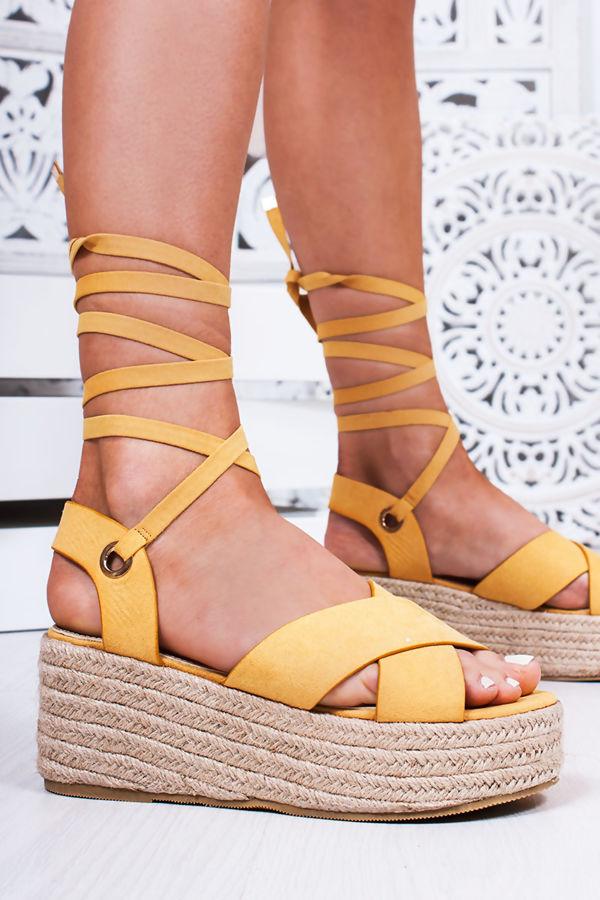 KATE Yellow Cross Strap Wrap Up Espadrille Flatforms