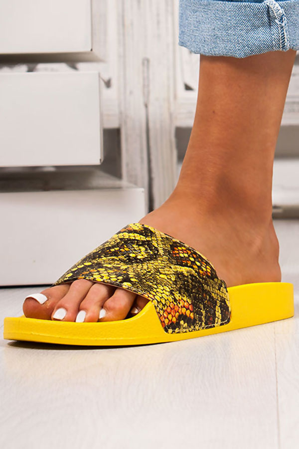 JOLIE Yellow Snake Print Strap Sliders
