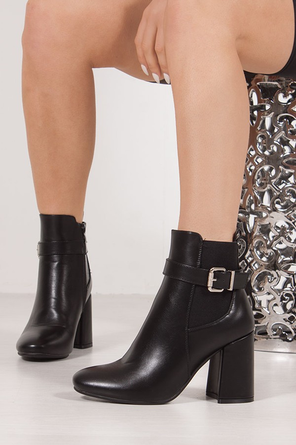 ZARA Black Buckle Strap Block Heel Ankle Boots