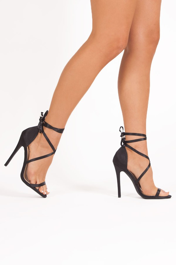 ZOE Black Satin Wrap Up Stiletto Heels