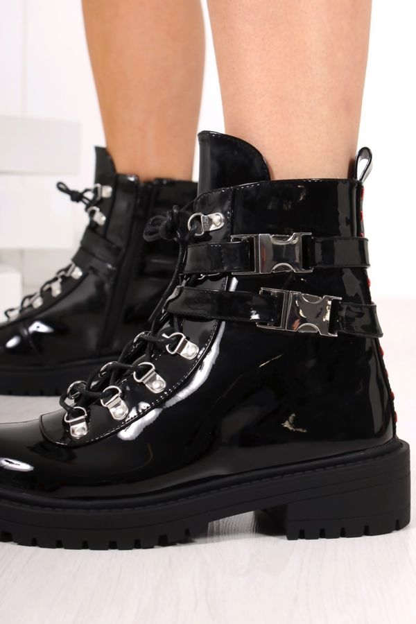 LOIS Black High Shine Buckle Strap Ankle Boots