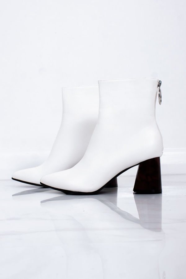 WILLOW White Pointed Toe Flared Block Heel Boots