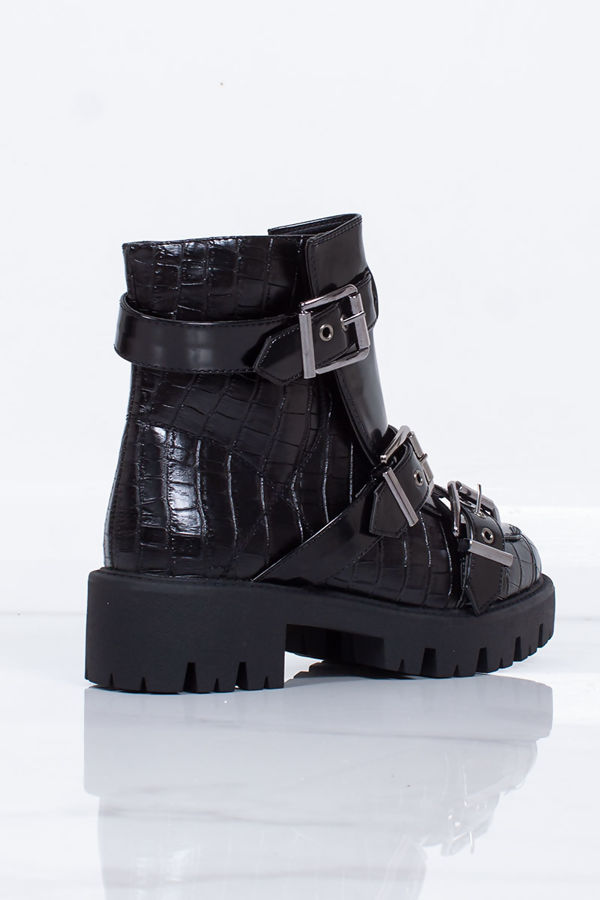 BROOKE Black Croc Print Buckle Strap Chunky Ankle Boots