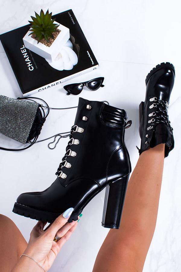JODIE Black Lace Up Block Heel Biker Boots